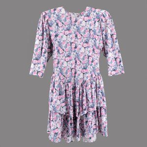 Vintage 1980''s Party Dress Floral Ruffle